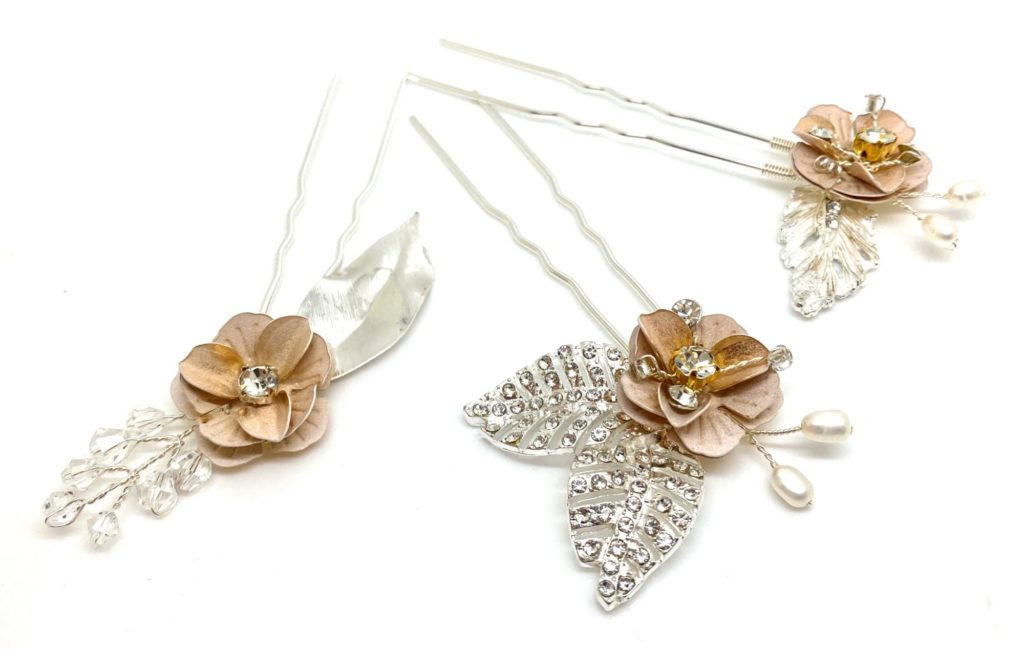 Blush flower hair clips with crystal and pearl by RedRocks bridal jewellery designer