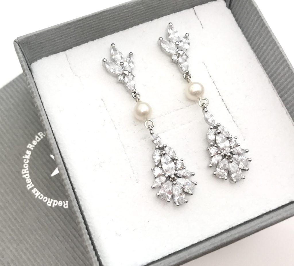 Crystal and pearl long drop earrings by RedRocks bridal jewellery designer