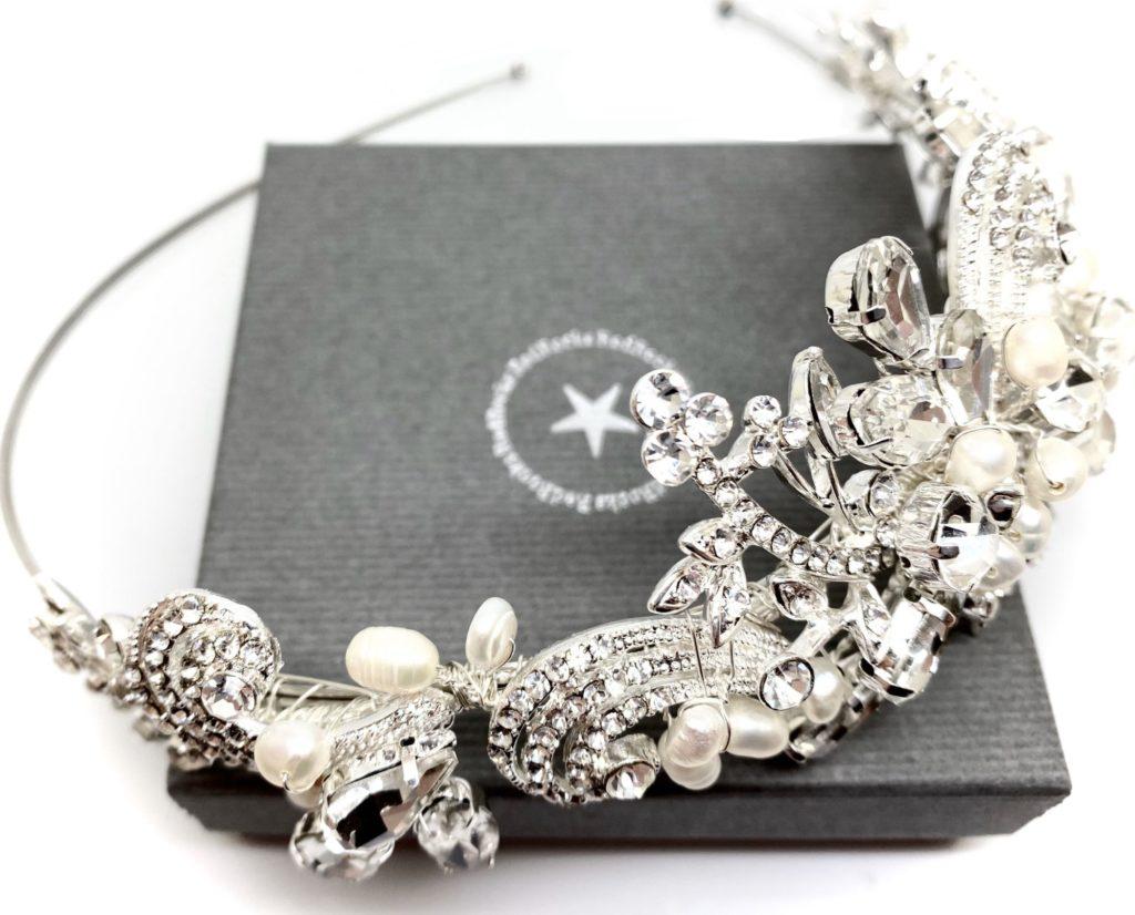 Crystal and pearl tiara by Red Rocks bridal jewellery designer