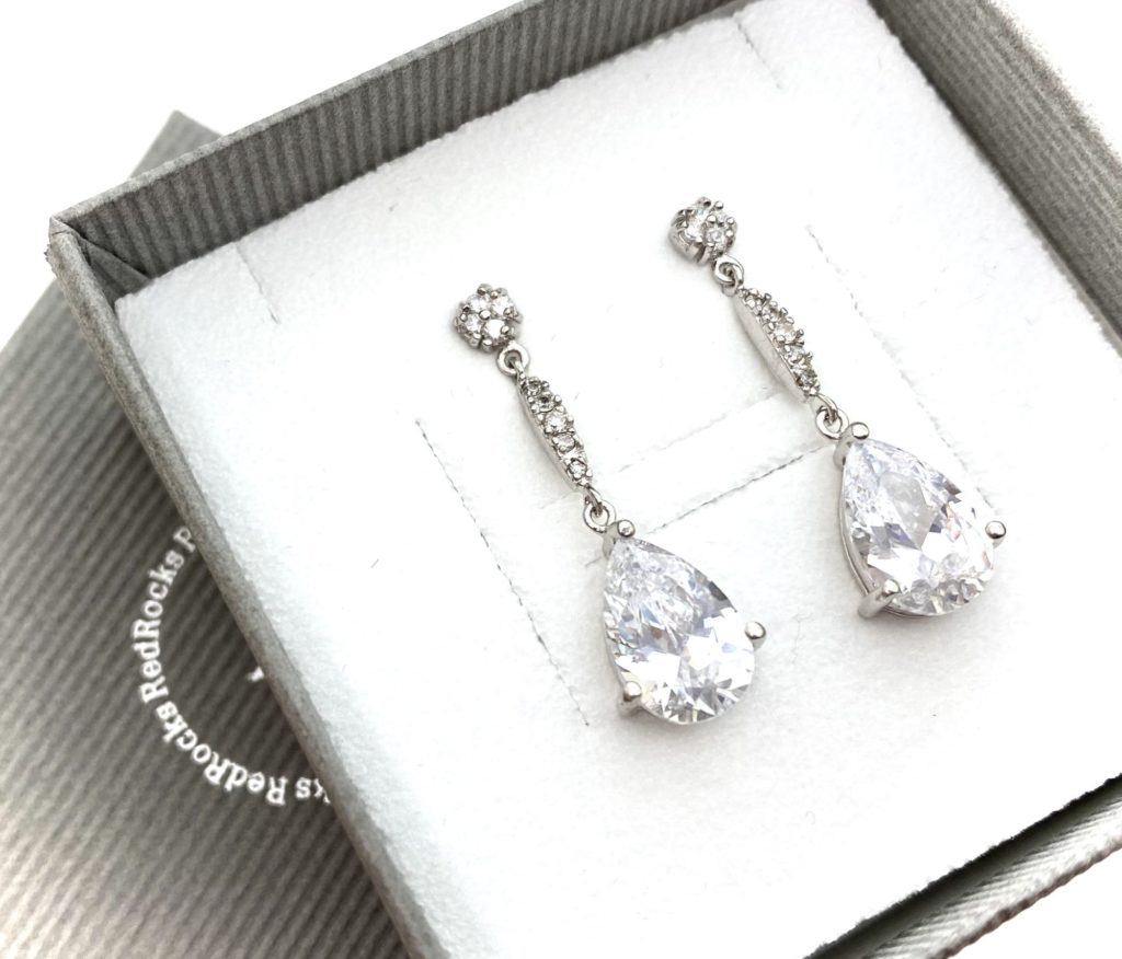 Long drop earrings with crystals by Red Rocks bridal jewellery designer