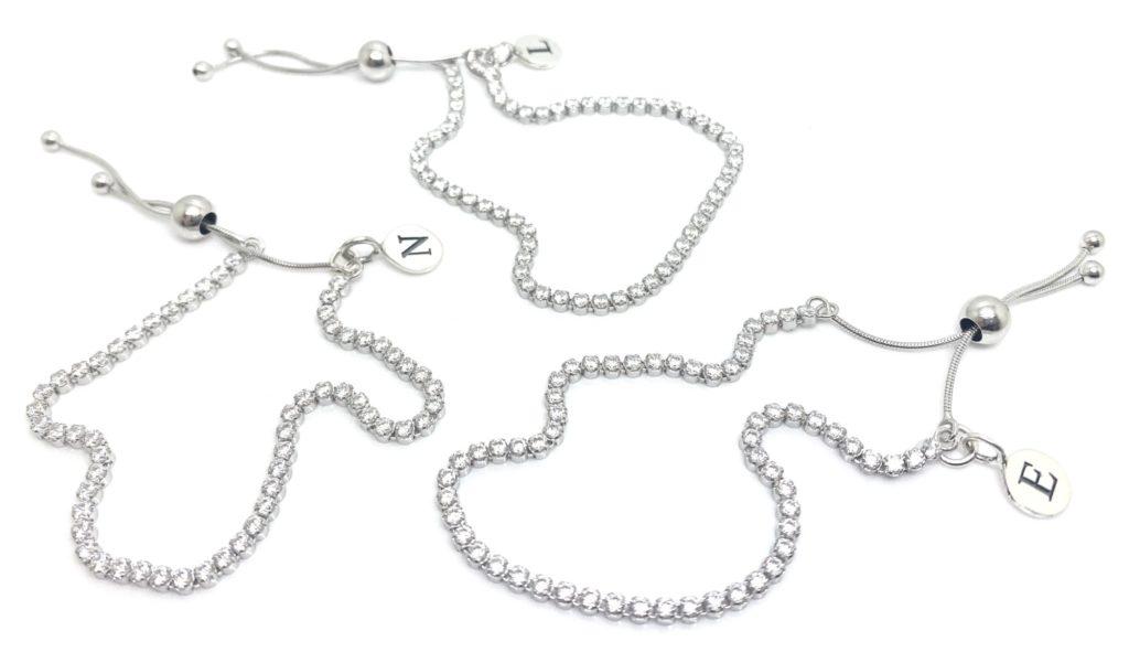 Personalised initial crystal set tennis style bracelet for bridesmaids by RedRocks bridal jewellery designer