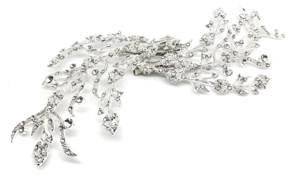 Silver crystal hairpiece by Red Rocks bridal jewellery design